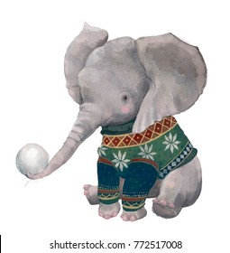 cute watercolor winter elephant snowball