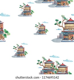 Cute watercolour pattern illustration with japan house and trees