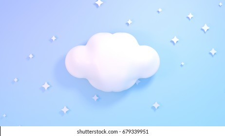Cute white clouds and stars. Blue pastel color background. 3d rendering picture.