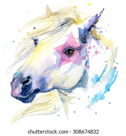 Cute white horse. watercolor illustration.  farm animals. domestic pets. wildlife.