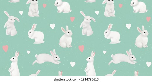 Cute white rabbits and bunnies. Delicate children's print. Funny characters. Pattern for children's fabrics, clothes, bedding, goods, wallpaper