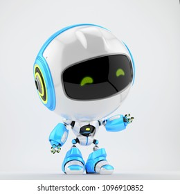 Cute white-blue robot toy pointing, 3d rendering