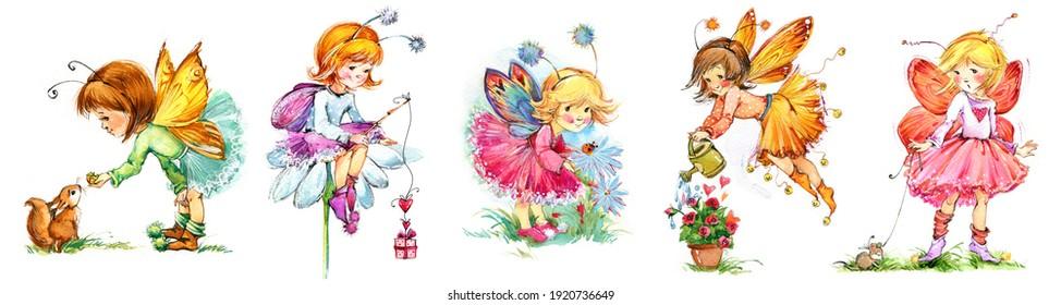 Cute Winged Fairies watercolor set. Fairy tale cartoon forest series