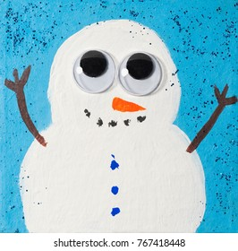 Cute Winter Holiday Snowman Illustration; handpainted with googly eyes