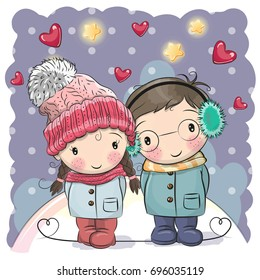 cute winter illustration cute boy girl stock vector royalty free