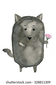 The cute wolf with pink flowers