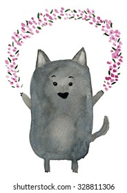 The cute wolf with pink flowers garland
