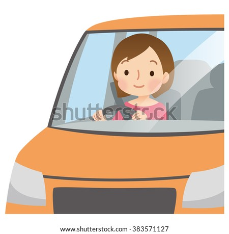 Cute Woman Driving Car Orange Colorのイラスト素材 383571127