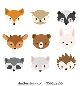 Cute woodland animals collection.Animals heads isolated on white background. Raster.