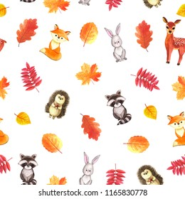 Cute woodland animals seamless pattern watercolor hand painted image, little fox, reindeer, hedgehog, rabbit, raccoon, kids characters funny forest pets, for children textile fabric print, paper.