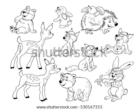 cute woodland animal coloring pages | Cute Woodland Animals Small Set Cute Stock Illustration ...