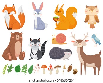Cute woodland animals. Wild animal, forest flora and fauna elements. Fox, deer and hedgehog character or mushroom and leaves. Isolated cartoon illustration icons set
