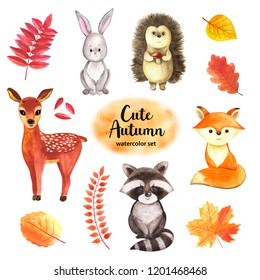 Cute woodland autumn animals raccoon, rabbit, reindeer, fox, hedgehog, falling leaves, hand drawn illustration, watercolor painting, maple, ash tree, oak, birch, orange, yellow, red color. Baby print.