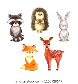Cute woodland watercolor animals isolated on white background, hand drawn cute illustration, brush painted art, funny childish sketch, for kids print, card, clothing. Children, autumn, winter theme.