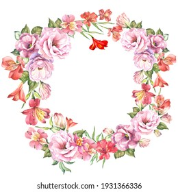 cute wreath with watercolor flowers.