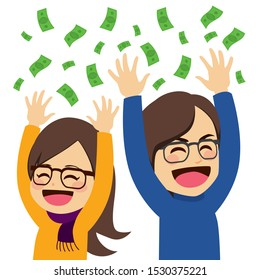 Cute young happy wealthy couple throwing money celebrating success concept