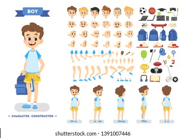 Cute young male boy character set for animation with various views, hairstyles, emotions, poses and gestures. School equipment set. Isolated  illustration