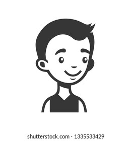 Cute Young Man Avatar. Cartoon Monochrome Userpic.