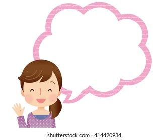 Royalty Free Stock Illustration of Cute Young Mom Speech Balloon