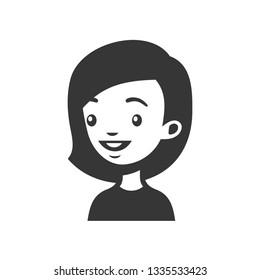 Cute Young Woman Avatar. Cartoon Monochrome Userpic.