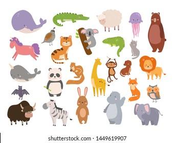 Cute zoo cartoon animals isolated funny wildlife learn cute language and tropical nature safari mammal jungle tall characters illustration.