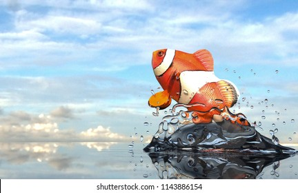 Cutest clownfish in ocean open sea  jumping for freedom 3d rendering