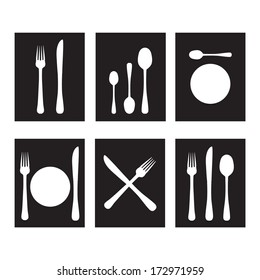 Cutlery icons in black and white