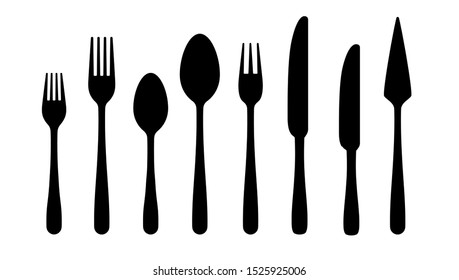 Cutlery silhouettes. Fork spoon knife black icons, silverware silhouettes on white background.  cutlery set for serving illustration