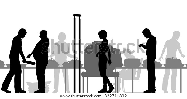Cutout illustration of hand-luggage and passengers being checked at airport security