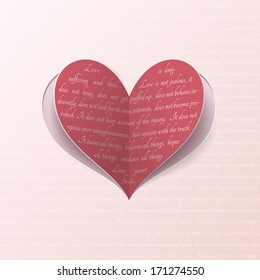Cut-out paper heart with quote from Bible about true love