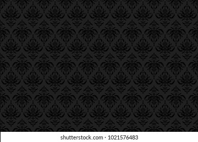 Cutout paper lace texture, raster tulle background, swirly seamless pattern in gray and black colors. Raster illustration.