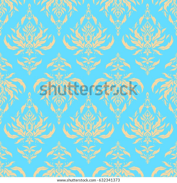 Cutout paper lace texture, tulle background, swirly seamless pattern in beige and blue colors.