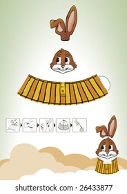 Cutout scheme of brown rabbit which takes a little bit of hand work and an standard size egg to make a unique kind of Eastern decoration.