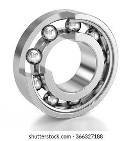 Cutted Ball Bearing over a white background. Mechanical component. Part of a series.