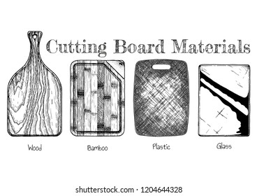 Cutting board from various materials: wood, bamboo, plastic, glass. Hand drawn illustration in vintage engraved style. Isolated on white background.