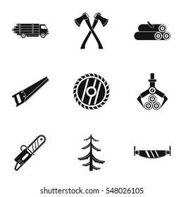 Cutting down trees icons set. Simple illustration of 9 cutting down trees  icons for web