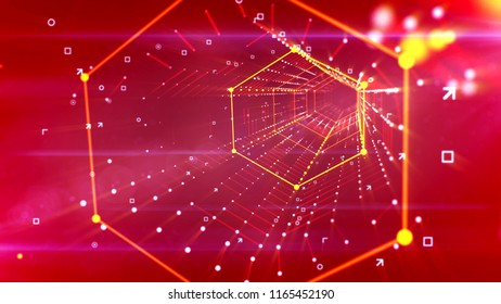 A cutting edge 3d illustration of a hexagonal neon portal located askew and moving in the bright purple background with lines of united and shining yellow spots and looking like a spider web.