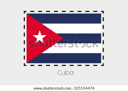 Cutting Outline Around Flag Cuba Stock Illustration Royalty Free
