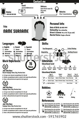 cv curriculum vitae resume template infographic stock illustration