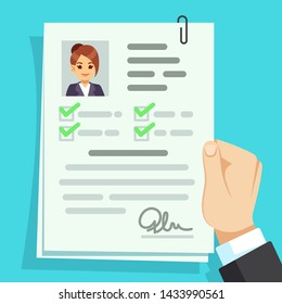 Cv document. Qualification personal documentation with girl avatar concept. Interview personal document in hand illustration