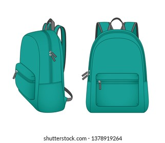 0838df60b45 Cyan foldable backpack with front zippered pocket, outdoor folding storage  package, travel bag,