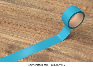 Cyan insulating tape roll on wooden background. 3d illustration.
