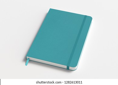 Cyan vertical notebook with elastic band on white background. 3d illustration