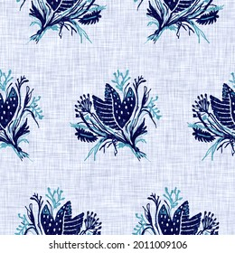 Cyanotypes blue white botanical linen texture. Faux photographic floral sun print effect for trendy out of focus fashion swatch. Mono print flower in 2 tone color. High resolution repeat tile.