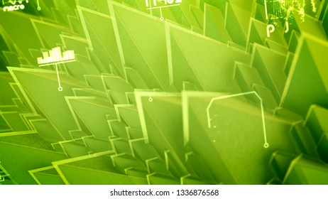Cyber 3d illustration of nano pyramids with sharp and steep slopes, rotating spirals, changing words, shimmering numbers in the salad background. It looks hi-tech and fine.