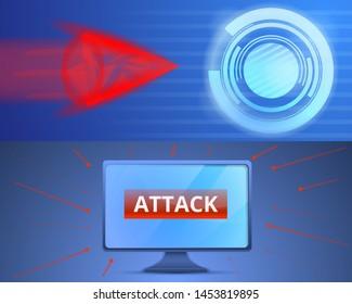 Cyber attack banner set. Cartoon illustration of cyber attack banner set for web design