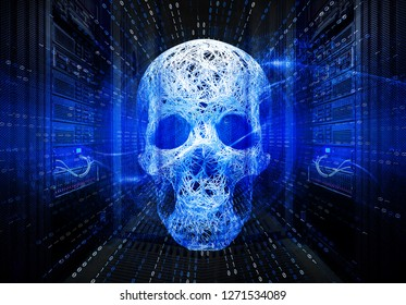 cyber attack hackers, the concept of hacking servers, skull with a binary stake matrix on the background of a series of supercomputers data center. 3D Illustration