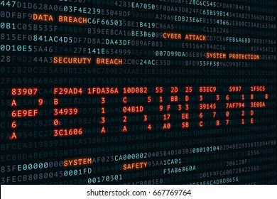 cyber, attack,Petrwrap word on screen hexcimal code display is hacker,illustration
