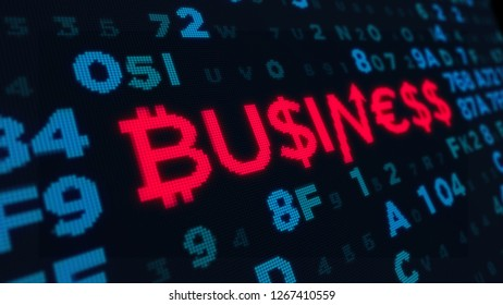 Cyber business concept and abstract new digital technology 3D illustration. Bright piexl title built with dollar, bitcoin and euro signs on a computer screen style.