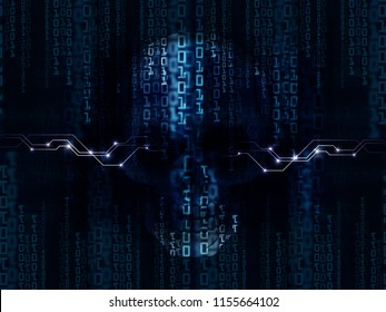 Cyber concept, binary code skull digital blue background